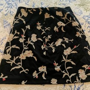 Loft size 8 black and floral skirt